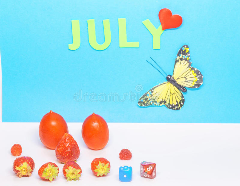 Um calendário do mês de julho foto de stock