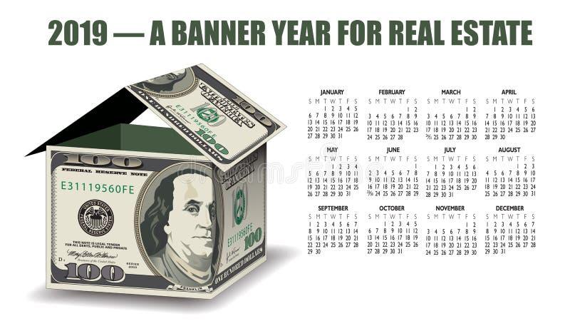 Um calendário dos bens imobiliários 2019 com uma casa do dinheiro ilustração royalty free