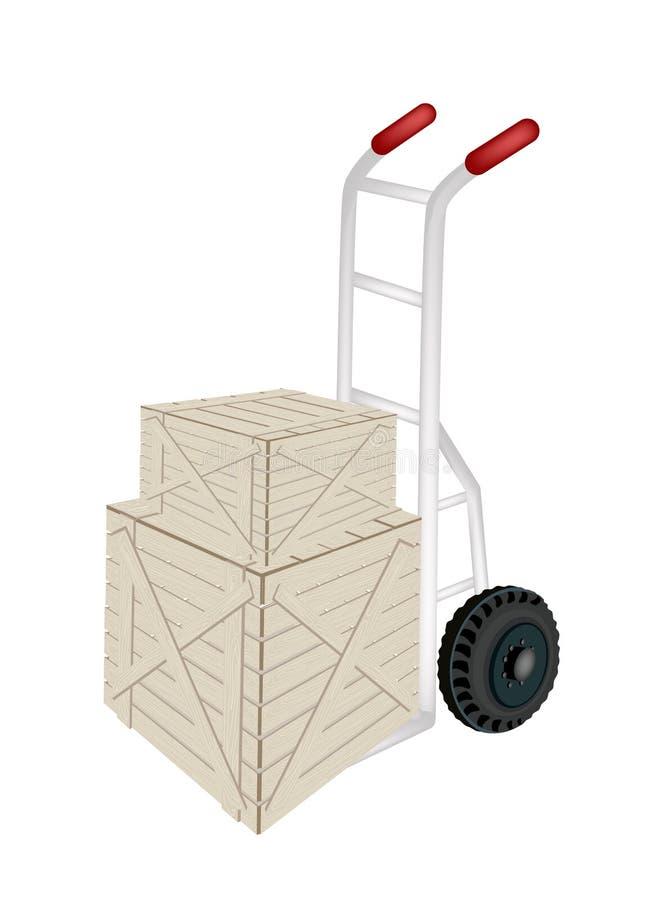 Um caminhão de mão que carrega duas caixas de transporte ilustração stock