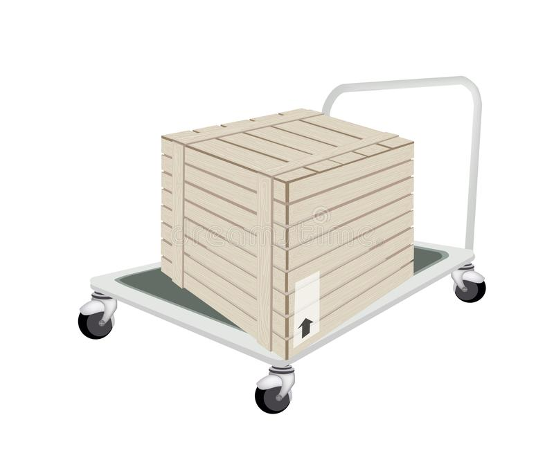 Um caminhão de mão que carrega uma caixa de transporte imagens de stock