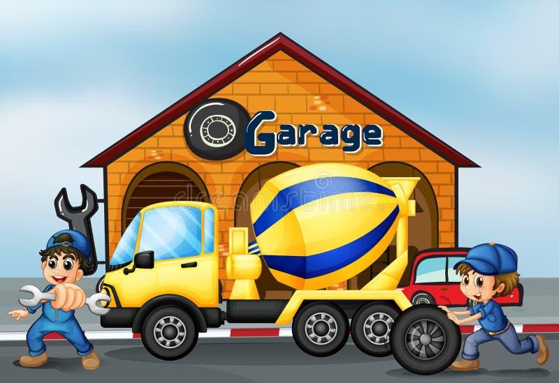 Um caminhão do cimento na frente da garagem ilustração stock