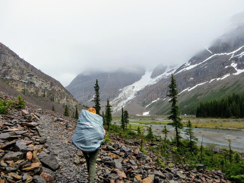 Um caminhante fêmea novo que caminha ao longo da fuga do lago berg, na montagem Robson Provincial Park imagens de stock
