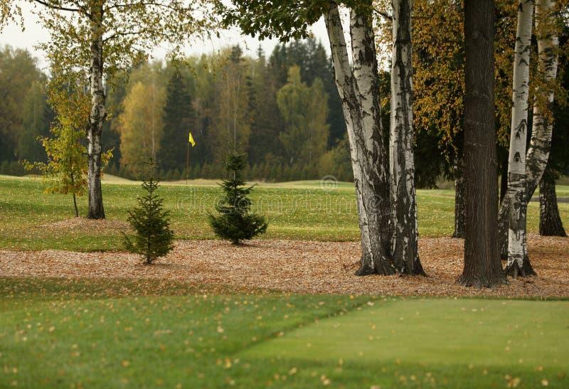 Um campo de golfe com estradas, depósitos e lagoas imagens de stock