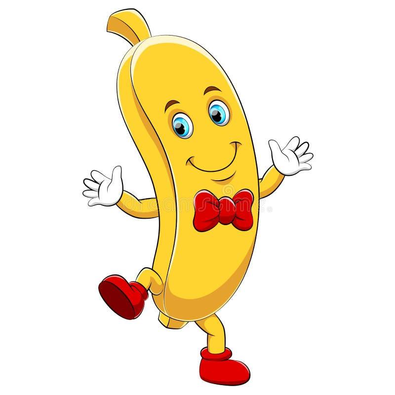 Um caráter feliz da banana dos desenhos animados ilustração stock