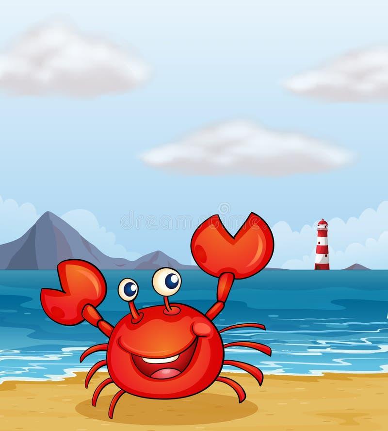 Um caranguejo no litoral ilustração do vetor