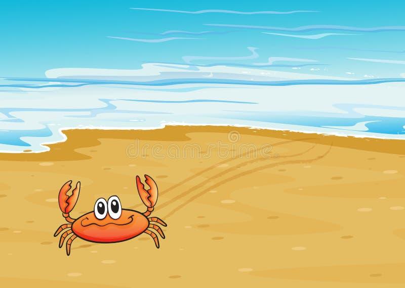 Um caranguejo que rasteja no litoral ilustração do vetor