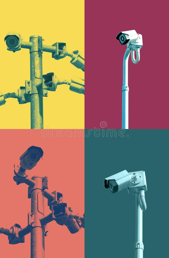 Um cargo do CCTV da segurança com as câmeras instaladas em sentidos diferentes foto de stock royalty free