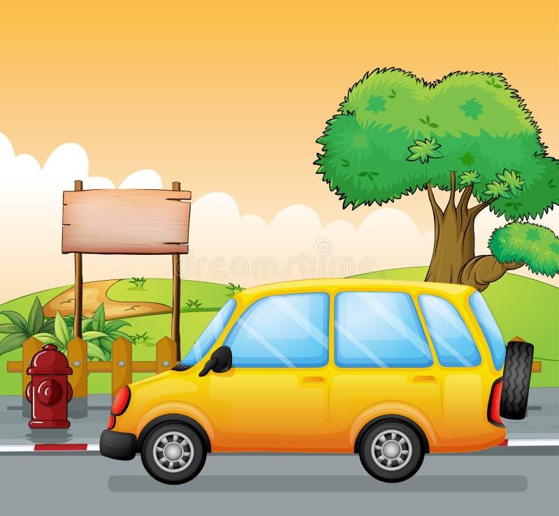 Um carro amarelo e um signage vazio ilustração stock