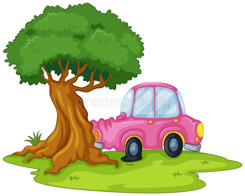 Um carro cor-de-rosa que colide a árvore gigante ilustração royalty free