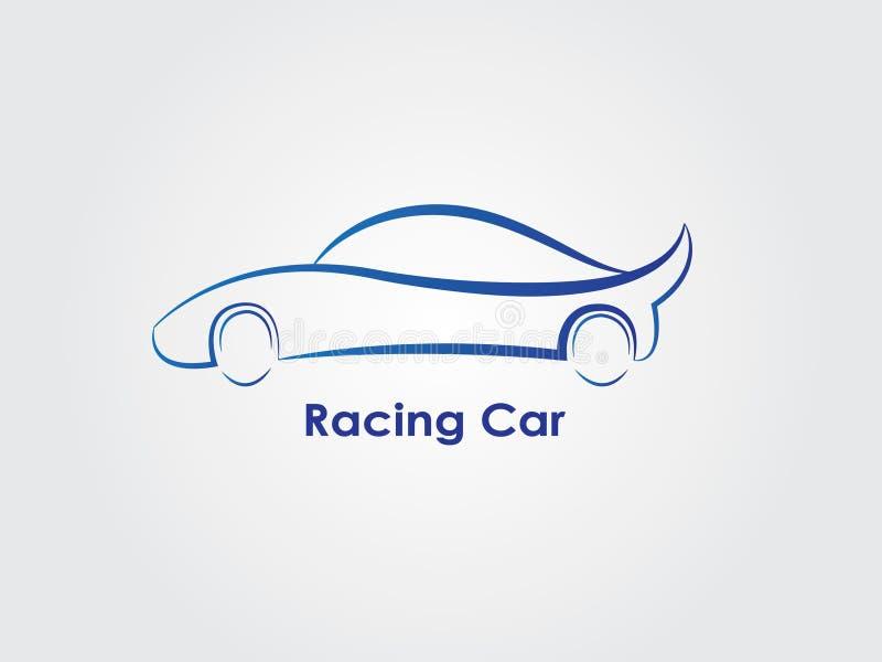 Um carro de esportes do azul para que competir use-se como o logotipo ilustração stock