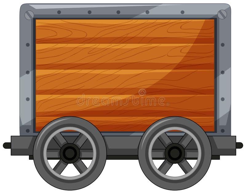 Um carro de madeira no fundo branco ilustração royalty free