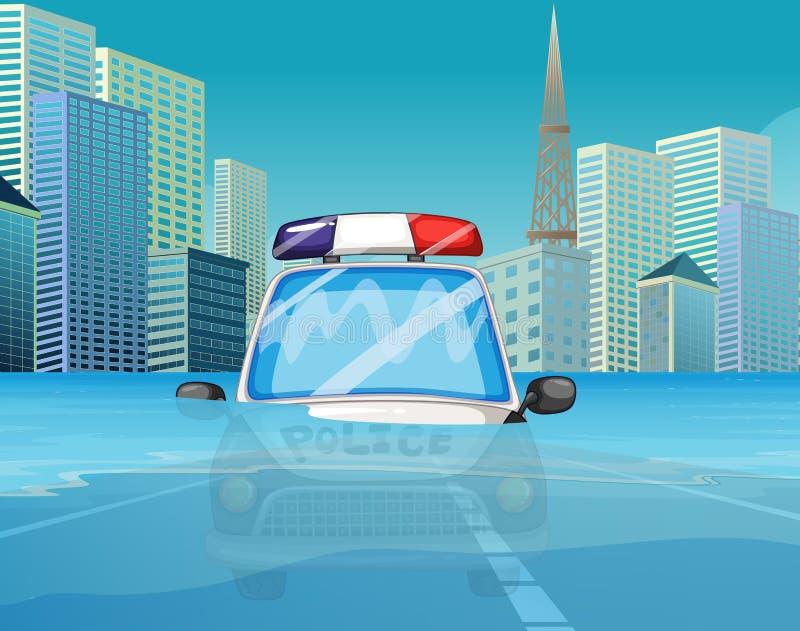Um carro de polícia sob a inundação ilustração do vetor