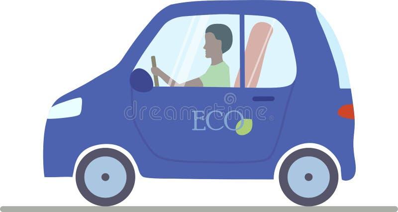 Um carro elétrico azul com um homem que senta-se dentro dele ilustração do vetor
