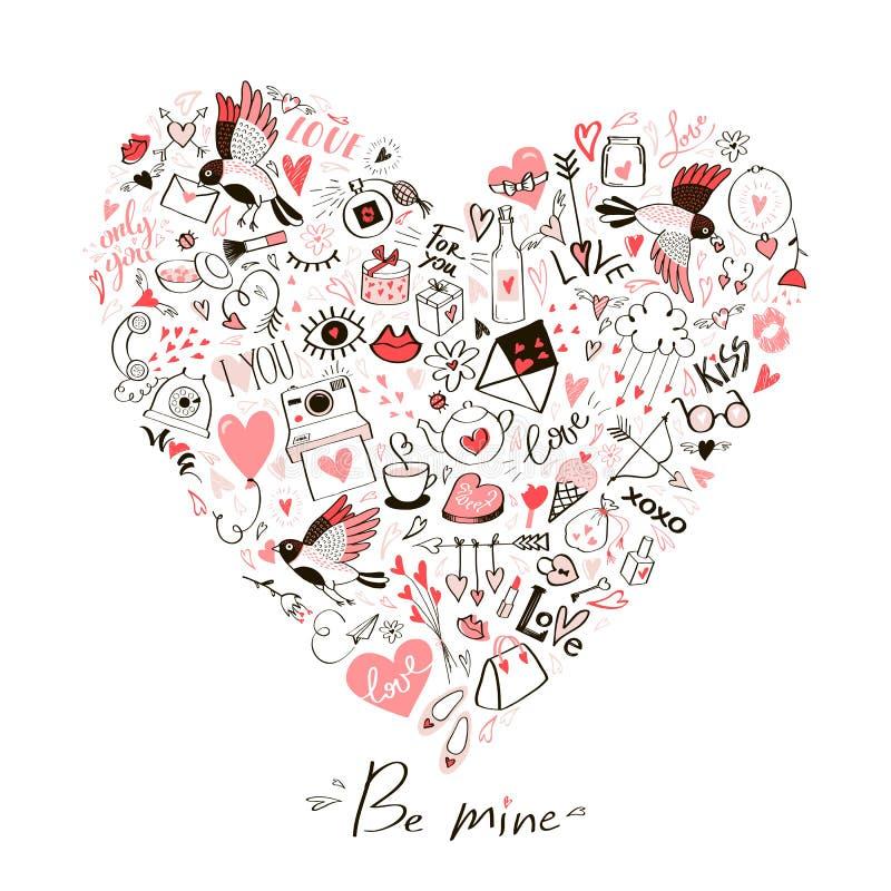 Um cartão com um coração de garatujas do elemento e de uma mensagem do amor ilustração royalty free