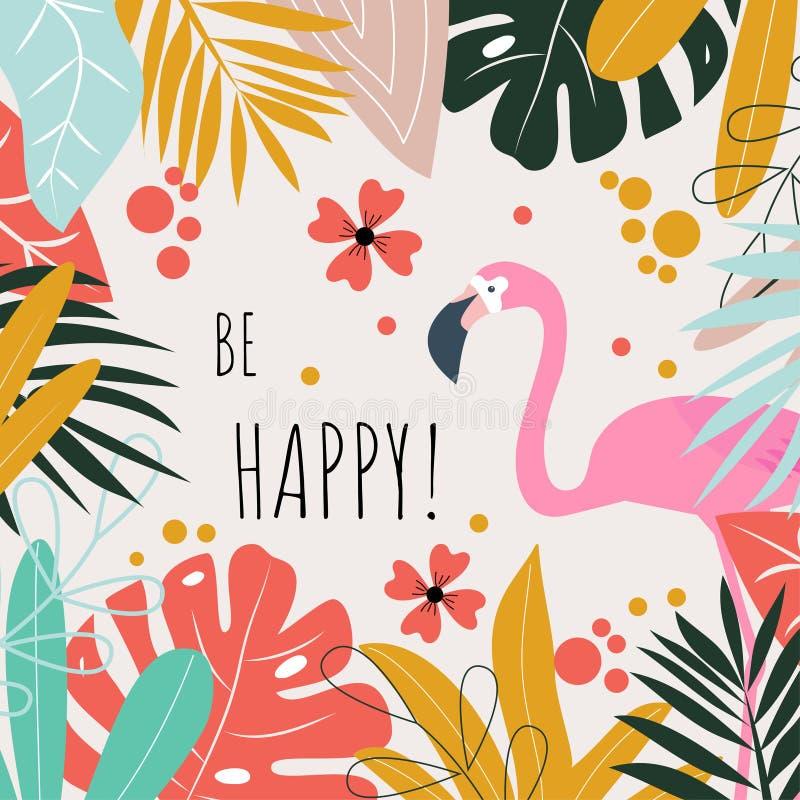 Um cart?o com flamingos e as palavras ?para estar feliz ? Projeto do vetor foto de stock royalty free