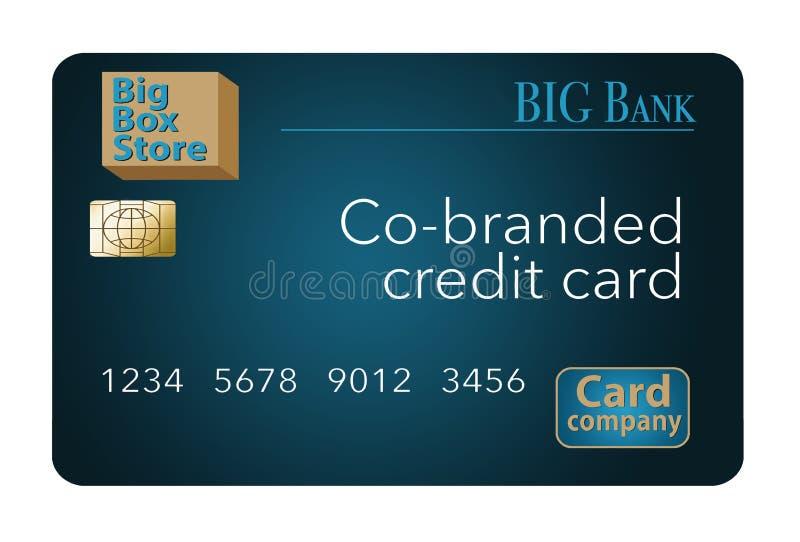 Um cartão de crédito Co-marcado que seja um cartão trocista é mostrado aqui Uma loja grande da caixa, um banco e uma empresa de c ilustração do vetor