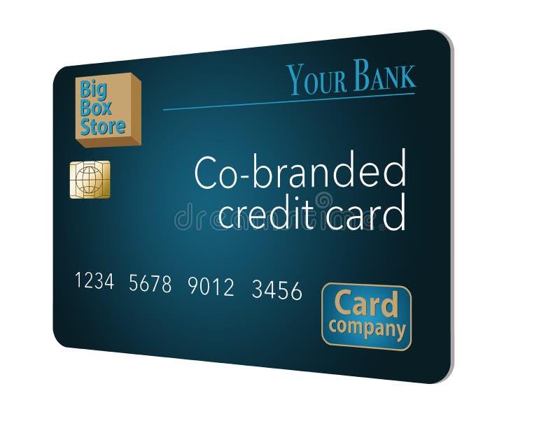 Um cartão de crédito Co-marcado que seja um cartão trocista é mostrado aqui Uma loja grande da caixa, um banco e uma empresa de c ilustração stock