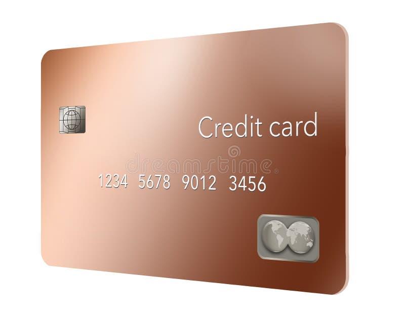 Um cartão de crédito de cobre do metal é visto nesta ilustração ilustração do vetor