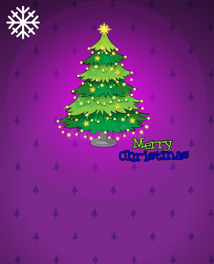 Um cartão de Natal violeta com uma árvore de Natal ilustração royalty free
