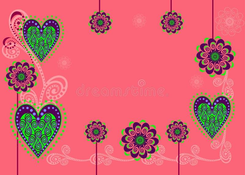 Um cartão ou um fundo com flores e corações ilustração stock