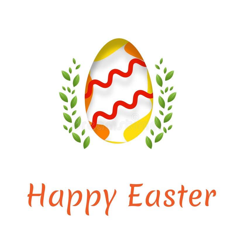 Um cartão para o feriado da Páscoa com a imagem de um ovo e da inscrição de uma Páscoa feliz Ilustração do vetor com efect o imagem de stock royalty free