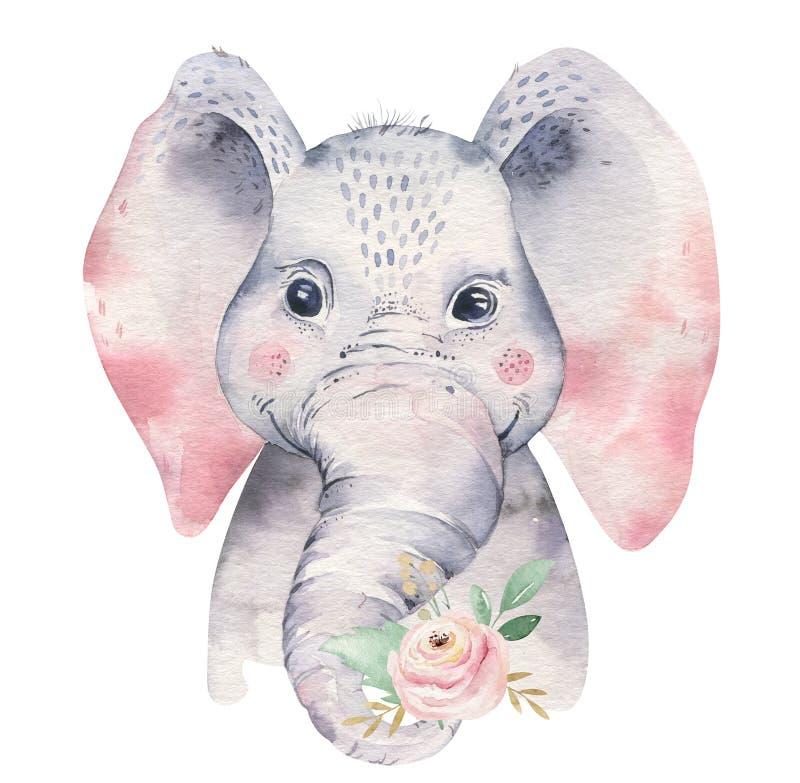 Um cartaz com um elefante do bebê Ilustração animal tropical do elefante dos desenhos animados da aquarela Cópia exótica do verão ilustração royalty free