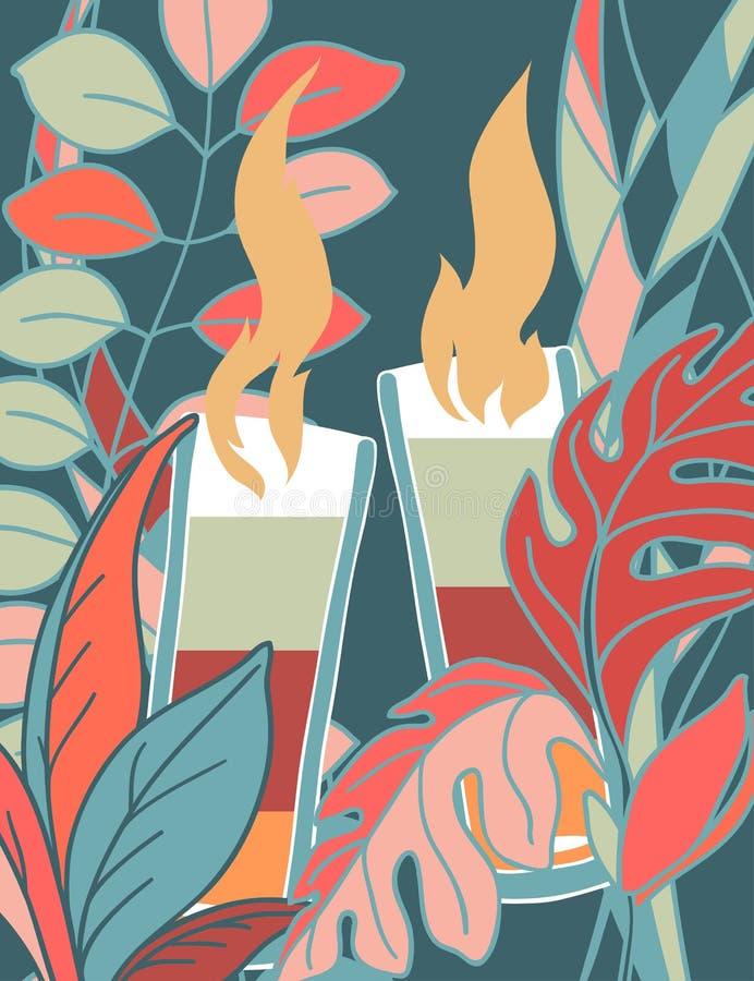 Um cartaz com uma imagem do cocktail e a cor das plantas ao redor ilustração do vetor