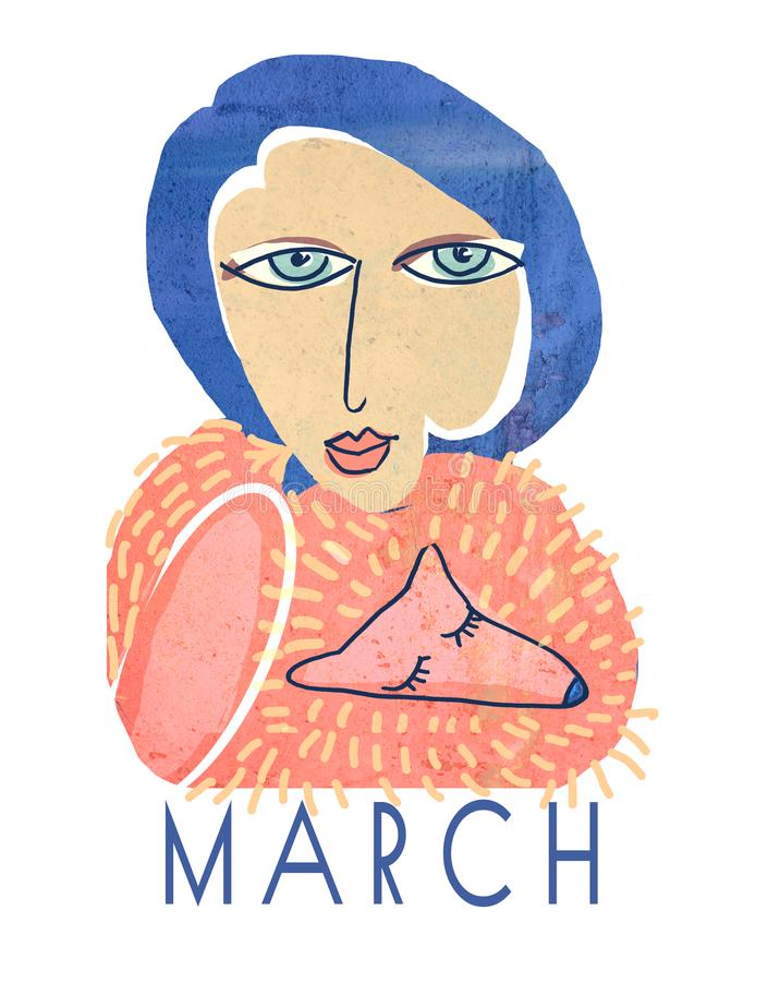 Um cartaz com uma mulher dos anos de idade 30 com um colar da pele de raposa Uma colagem textured do vintage Um retrato de uma mu ilustração stock