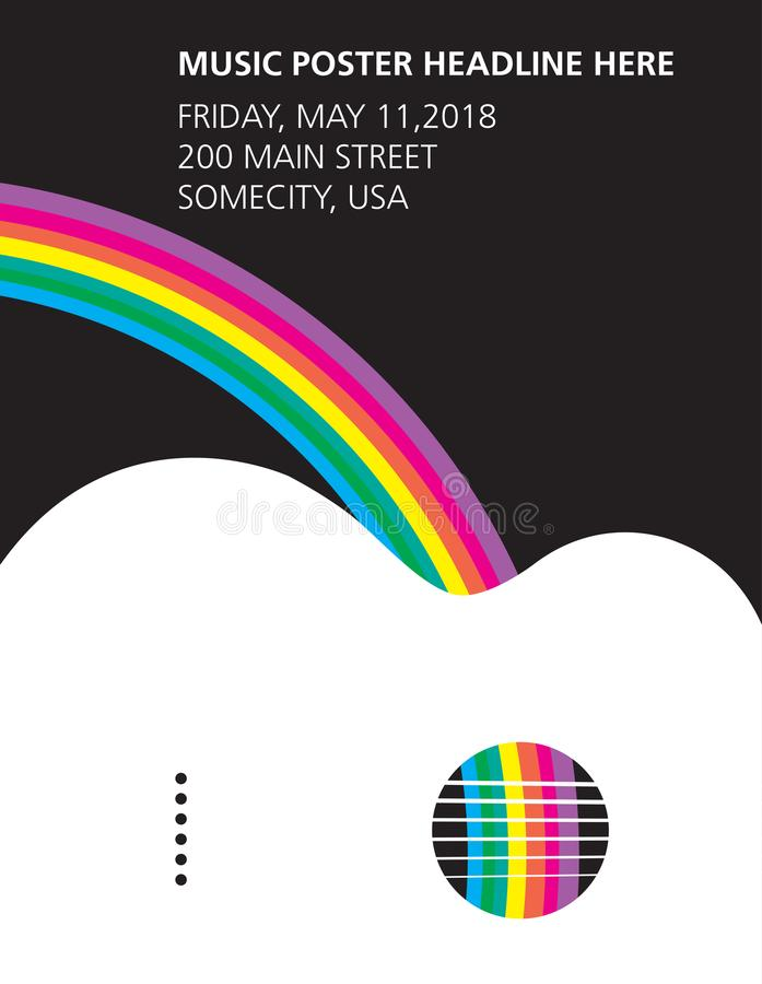 Um cartaz da guitarra acústica e do arco-íris ilustração royalty free