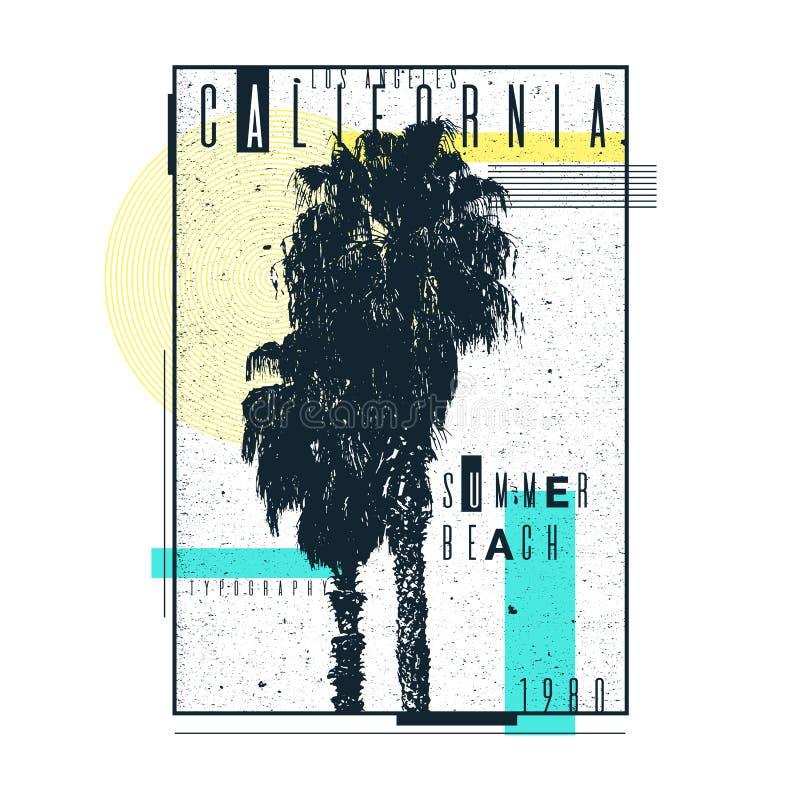 Um cartaz em um t-shirt com as palmeiras de Califórnia Tipografia velha ilustração do vetor