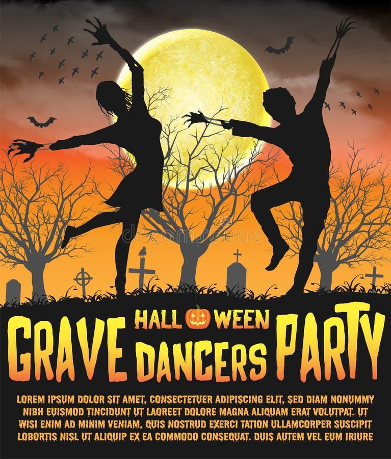Um cartaz grave do partido dos dançarinos da silhueta do Dia das Bruxas ilustração do vetor