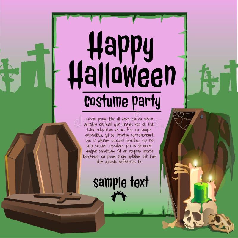 Um cartaz no tema do feriado de Dia das Bruxas Um esboço do convite ou de outros cartões com espaço para seu texto ilustração stock