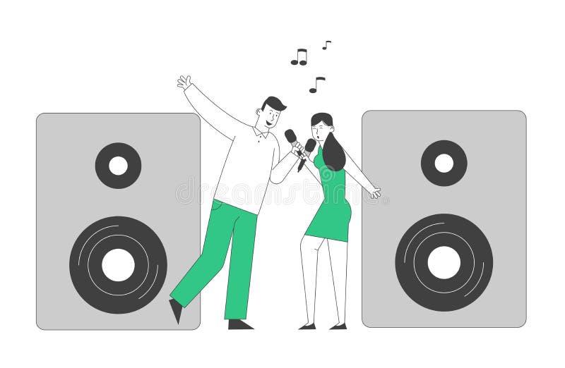 Um casal alegre cantando música com microfones perto da Huge Dynamics no Karaoke Bar ou no Nightclub Semanal ilustração stock