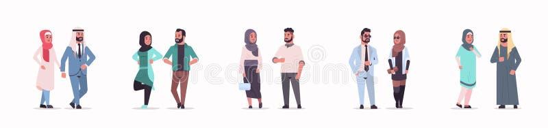 Um casal de negócios árabe diferente, junto com uma mulher de árabe, vestindo personagens tradicionais de desenho animado árabe ilustração do vetor