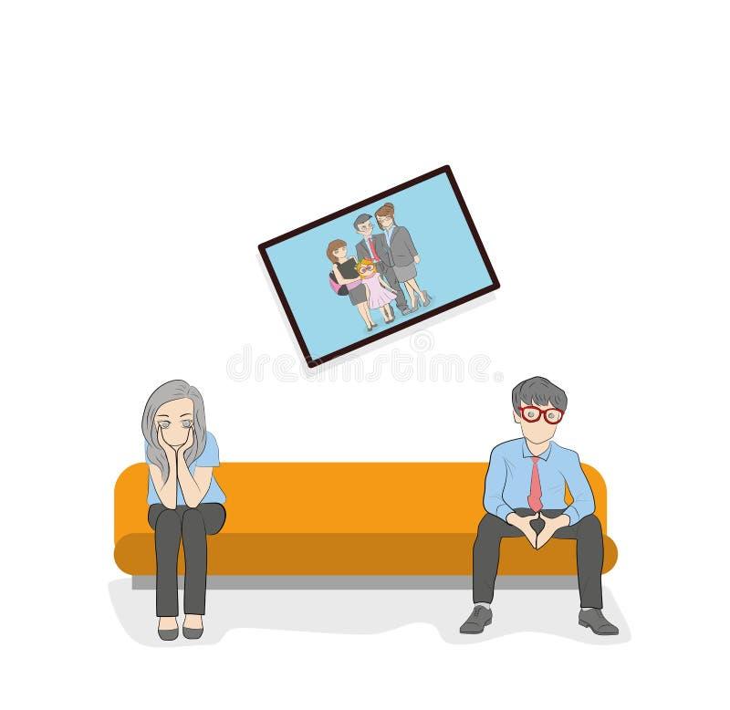 Um casal está sentando-se no sofá Situação do conflito o conceito do desenvolvimento de relações de família Ilustração do vetor ilustração do vetor
