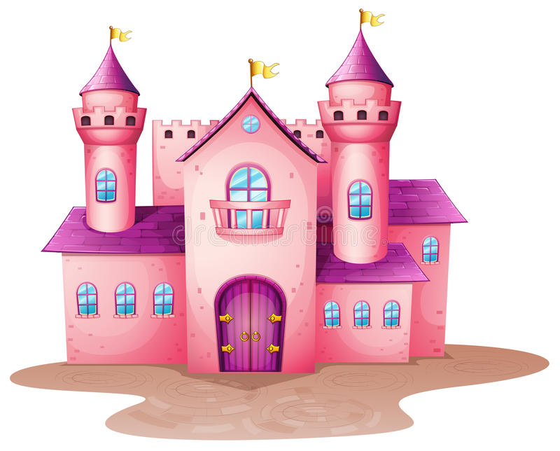 Um castelo colorido rosa ilustração do vetor