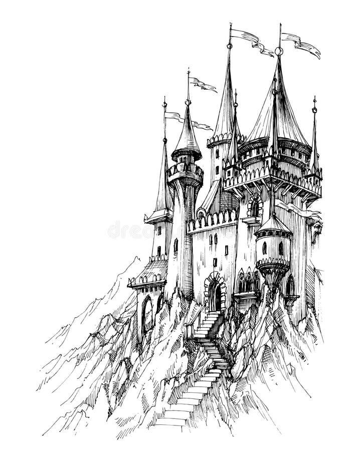 Um castelo do conto de fadas ilustração stock