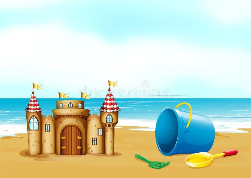 Um castelo na praia ilustração stock