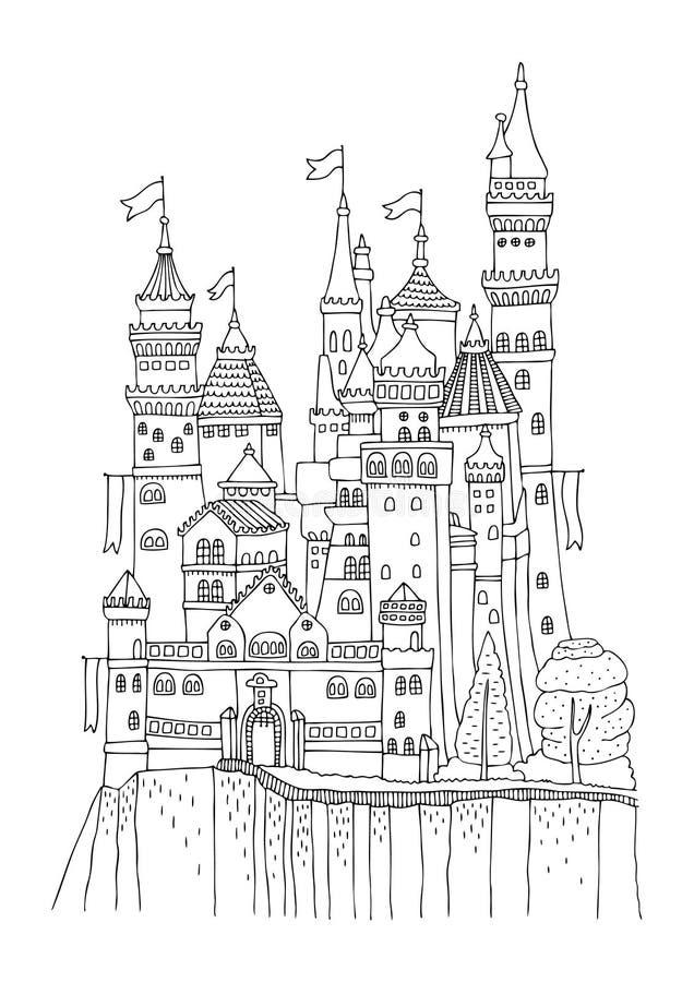 Um castelo velho com muitas torres e bandeiras imagens de stock royalty free
