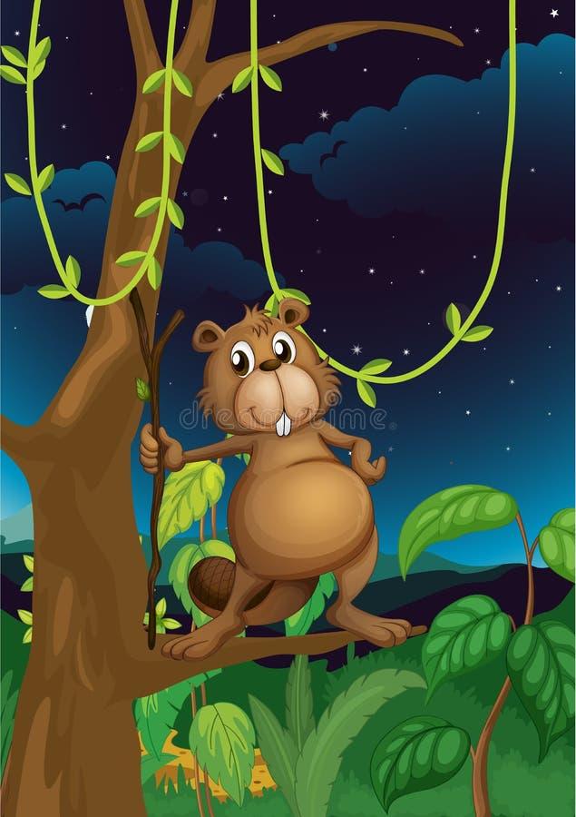 Um castor na selva ilustração stock