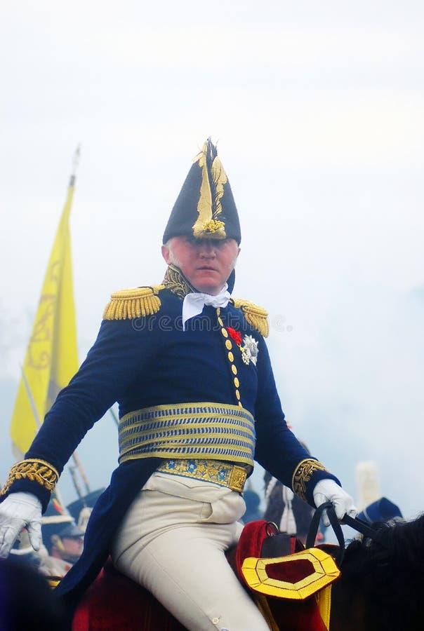 Um cavaleiro do cavalo no uniforme militar do vintage imagem de stock