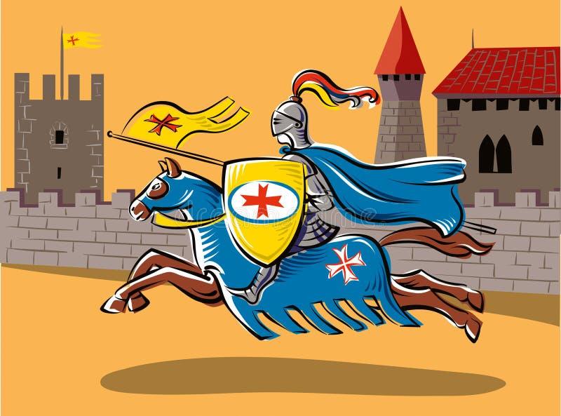 Um cavaleiro medieval todo o competiam decked ilustração royalty free