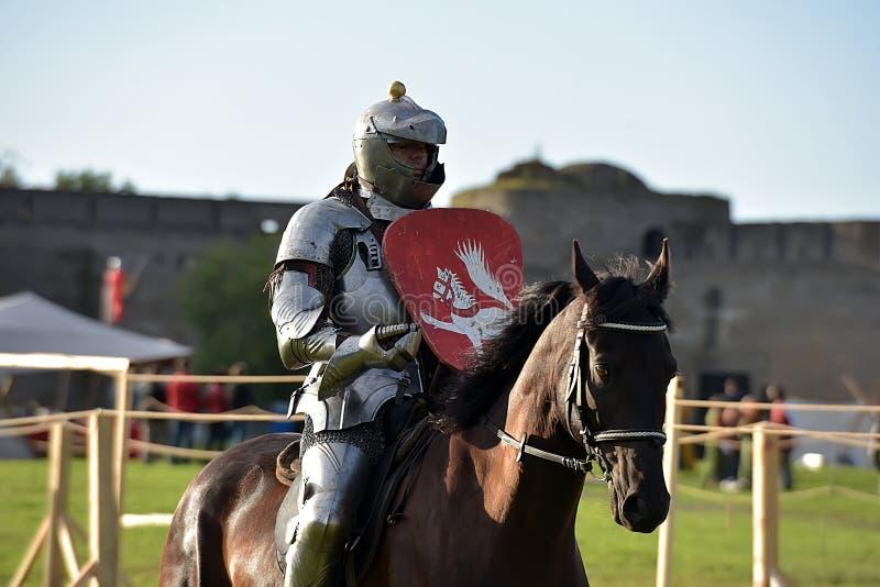 Um cavaleiro na armadura e capacete no cavalo fotografia de stock