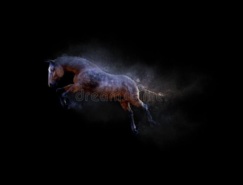 Um cavalo que move-se e que salta com efeito da partícula de poeira ilustração do vetor