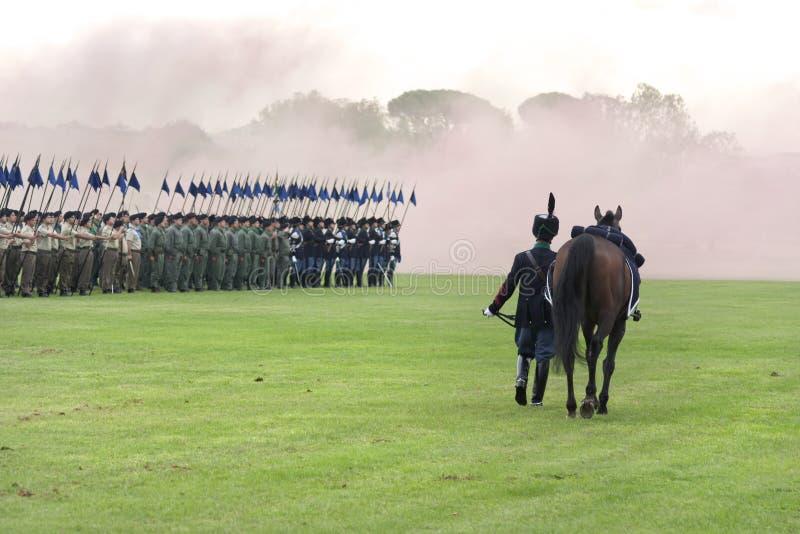 Um cavalo sem o cavaleiro para honrar os soldados que morreram imagens de stock royalty free