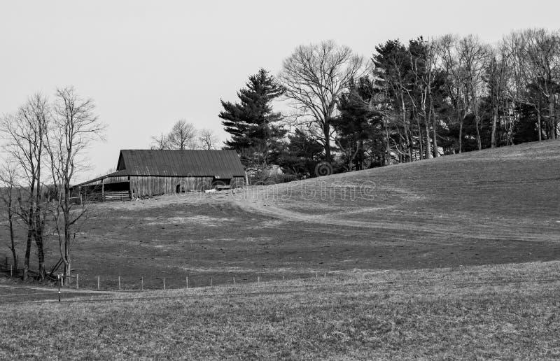 Um celeiro preto e branco da imagem em uma exploração agrícola da montanha fotografia de stock