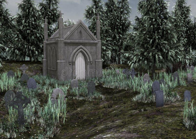 Um cemitério assustador abandonado ilustração stock