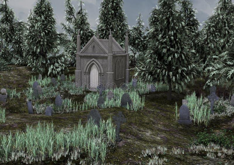 Um cemitério assustador abandonado ilustração royalty free