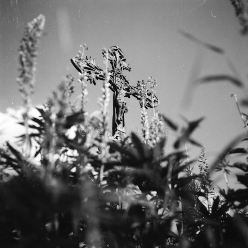 Um cemitério na vila Kvilda em República Checa fotos de stock