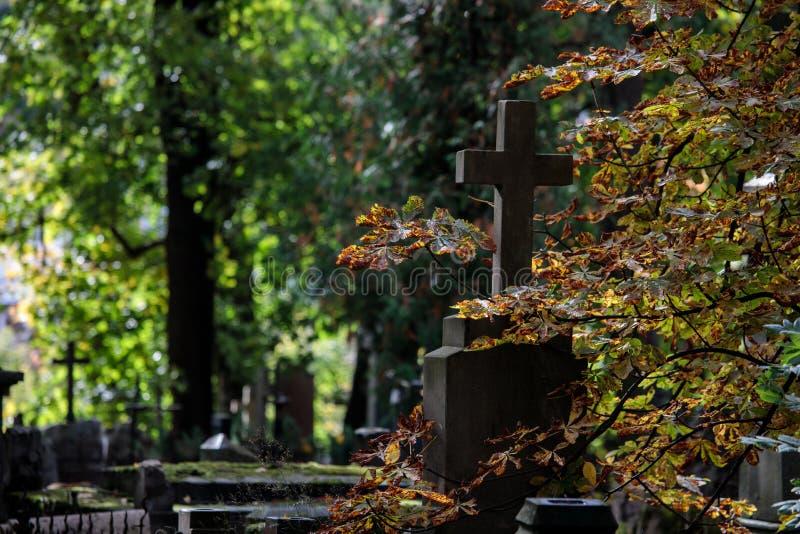 Um cemitério velho com lápides e cruzes fotos de stock